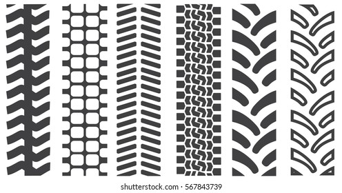 Set of tire shapes isolated on white background