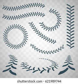 Set of the tire tracks of the tractor isolated elements . Vector illustration on white background