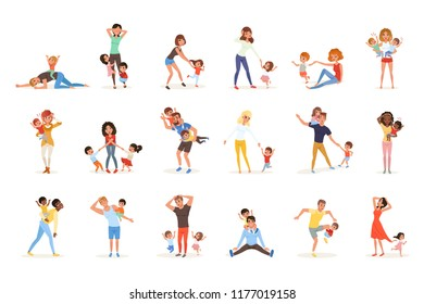 Set of tired parents with children. Exhausted moms and dads, playful boys and girls. Crazy day. Kids want to play. Reality of parenthood. Family concept. Flat vector