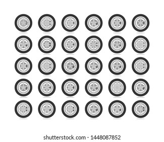 Set tires and wheels. Disc wheel car icon vector.