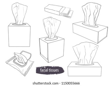 A set  of tissue boxes . Facial tissues, wet wipes and paper handkerchiefs. Hand-drawn vector linear illustration. Isolated objects on white background.