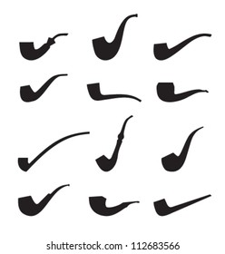 Set of tobacco pipes. Icon collection of pipes isolated silhouettes