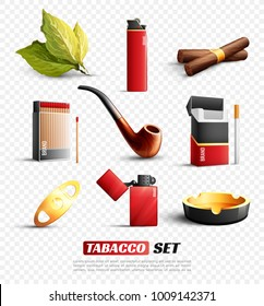 Set of tobacco products and accessories including cigars, cigarettes, lighter, ashtray isolated on transparent background vector illustration
