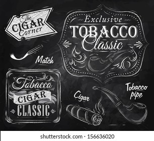 Set of tobacco and smoking symbols collection, cigarettes, cigar, pipe, drawing in retro style with chalk on chalkboard background.