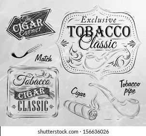 Set of tobacco and smoking symbols collection, cigarettes, cigar, pipe, drawing in retro style on grey background.