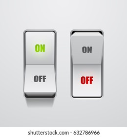 Set of toggle switches in on and off positions, vector illustration