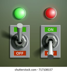 Set of toggle switches with signal lamps, on a metal background. Stock vector illustration.