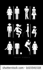 Set of toilet male and female symbols, in different funny, comic forms. Drawing in silhouettes, white color.