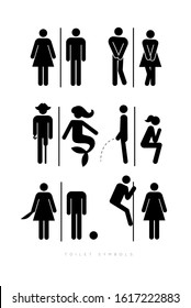 Set of toilet male and female symbols, in different funny, comic forms. Drawing in silhouettes, black color.