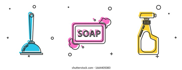 Set Toilet plunger, Bar of soap with foam and Cleaning spray bottle with detergent liquid icon. Vector