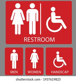 Set toilet signs. Men and women restroom icon sign right arrow. Disabled wheelchair icon. vector illustration