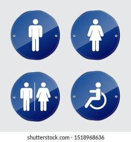 Set of toilet signs. Vector illustration.