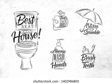 Set of toilet symbols in retro style with lettering drawing on dirty paper background