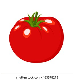 Set tomato in a cartoon-style logo. Icon tomato on a white background. Organic food. Vector  illustration.
