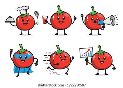 set of tomato character design