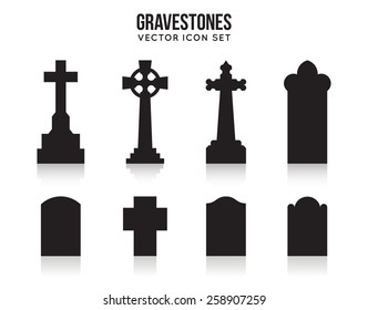Set of tombstone silhouette icons isolated on white background. Gravestones and cross, grave and headstone. Vector illustration