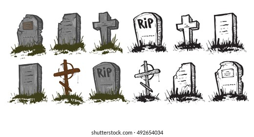 Set of Tombstones are made from stone and wood and looking very old, vector.