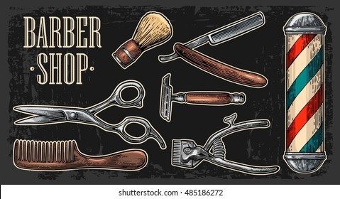 Set tool for BarberShop with comb, razor, shaving brush, pole, scissors, bottle spray and hair cutting machine. Vector drawn vintage engraving for logotype, poster, banner. Isolated on dark background