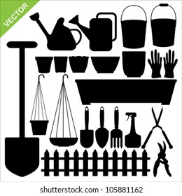 The set of tool garden silhouettes vector