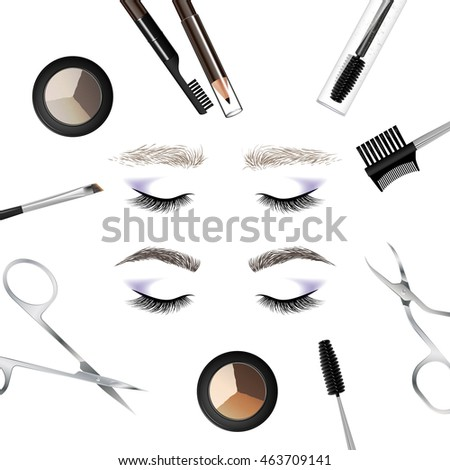 A set of tools and accessories for the care of the eyebrows. Brushes, combs, eyebrow pencil, brow powder, brow gel, tweezers, scissors. Example of eyebrows - before and after care. Vector illustration