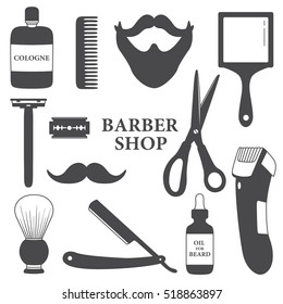 Set of tools for barber shop, hand drawn icons. Black and white elements, shaving accessories collection. Illustration with objects. Decorative backdrop, good for printing. Design background vector