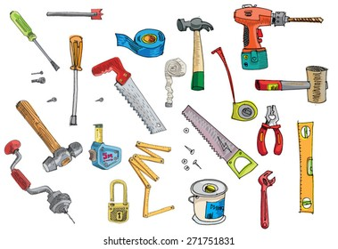 set of tools - cartoon