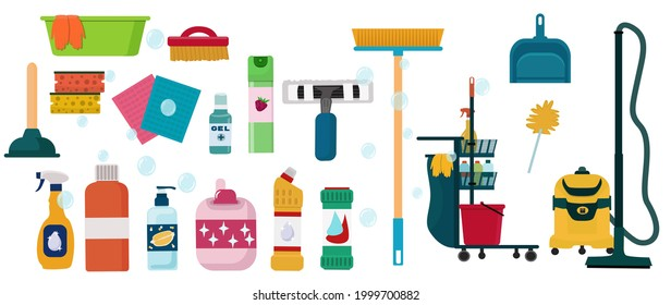 A set of tools and a cleaning cart, cleaning and disinfecting agents, sponges, gloves, rags and brushes, a vacuum cleaner.  Vector illustrations isolated on a white background.