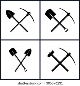 Set of Tools for Excavation and for Percussion Works, Isolated, Two Crossed Shovels, Crossed Shovel and Pickaxe, Pickaxe and Sledgehammer, Mining Industry, Construction, Vector Illustration