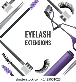 Set of tools for eyelash extension. Vector