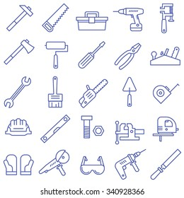 A set of tools in a flat style. Tool icons.