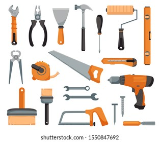 Set of tools of a joiner and repairman. Devices for construction and mechanics. Vector illustration in cartoon style.