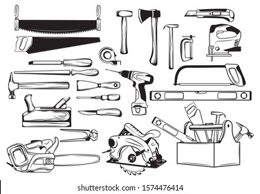 Set of tools kit for carpentry. Сollection of carpentry for wood cutting. Black and white vector illustration of tools for the repair and manufacture of a wooden product. Tattoo.