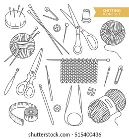 Set of tools for knitting and crochet, hand drawn icons. Black and white elements, sewing tools collection. Illustration with sketch objects. Decorative backdrop, good for printing. Design background