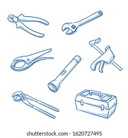 Set of tools, as pliers, wrench, wire cutter, toolbox, claps and torch light. Hand drawn line art cartoon vector illustration.