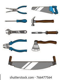 Set of tools for repairman or carpenter. Instruments isolated on white background. Vector illustration