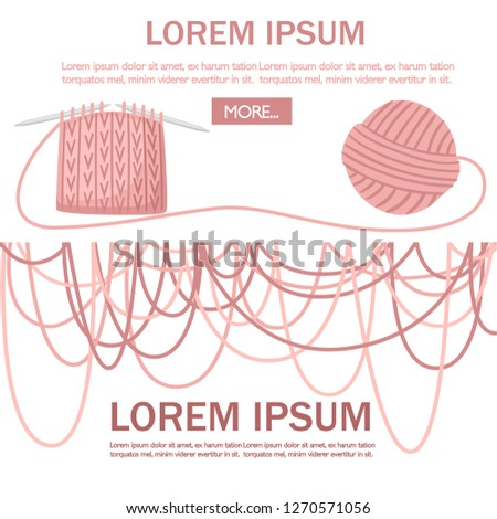 Set Tools Sewing Knitting Needles Balls Stock Vector