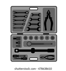 Set of tools in a suitcase for auto repair, plumbing and construction work.vector illustration