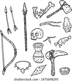Set of tools and weapons caveman. Prehistoric items. Bow, arrow, skull, necklace, stone, axe, hammer, broken bone, raw meat, amulet. Black and white sketch cartoon illustration