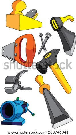 Set Tools Working Wood Stock Vector Royalty Free 268746041