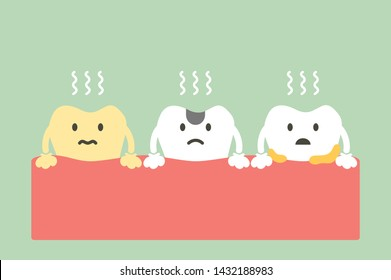 set of tooth is halitosis or bad breath - dental cartoon vector flat style cute character for design