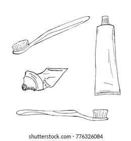 Set toothpaste and toothbrushes hand-drawn, sketch.