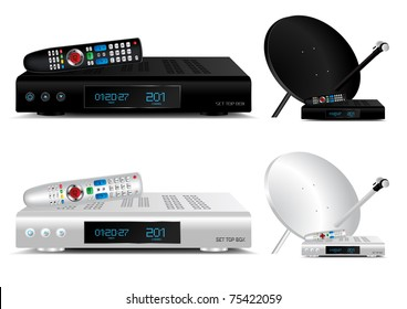 Set top box and dish antenna vector illustration