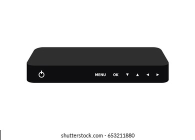 Set top box modern on white background