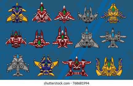Set of top down space ships for creating space shooter video games