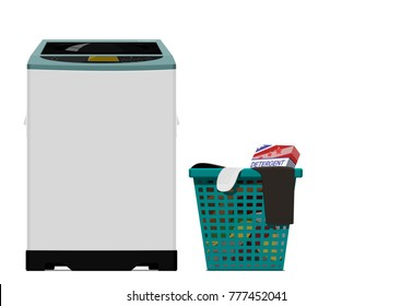 Set of Top load washing machine on transparent background