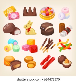 Set of top popular sweet desserts for halloween, easter, christmas. Chocolate bars, candies and other sweet food. Isolated vector illustrations