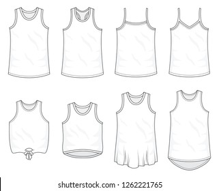 Set of top and sleeveless fashion stylish shirts collection template, fill in the blank shirt tops various styles