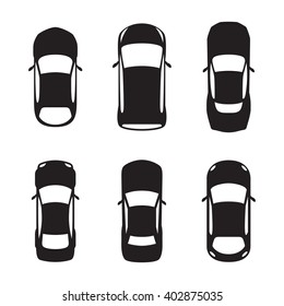 set of top view car silhouettes black illustration