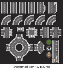 Set of Top View City Road Tiles, Overhead Road Elements