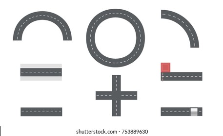 Set of Top View City Road Tiles, Overhead Road Elements. View from above. flat style vector illustration.